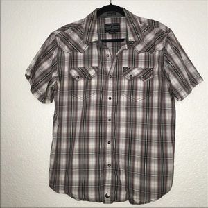 Cody James pearl snap button plaid shirt